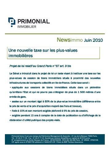 News PrimonialImmo - Juin 2010 - Primonial Immobilier