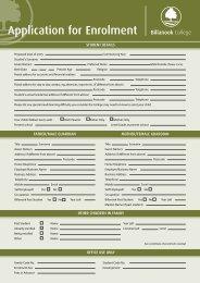 Application for Enrolment Form (PDF) - Billanook College