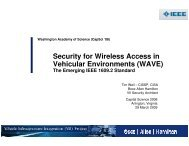 Security for Wireless Access in Vehicular Environments (WAVE)