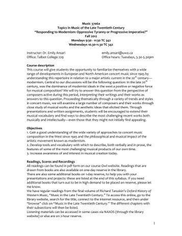 3706a Topics in Music of the Late Twentieth Century - University of ...