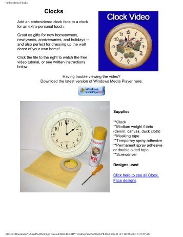 Embroidered Clocks - Embroidery Library