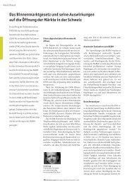 Das Binnenmarktgesetz und seine Auswirkungen - Schweizer ...