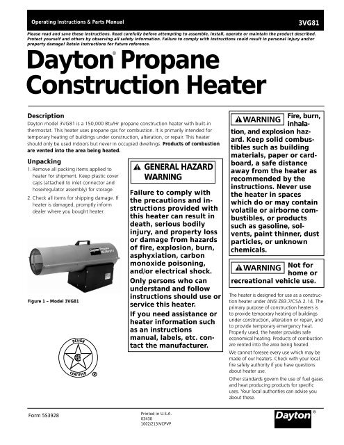 Dayton Propane Construction Heater Desa