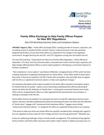 Captivating Family Office Exchange To Help Family Offices Prepare For New SEC .