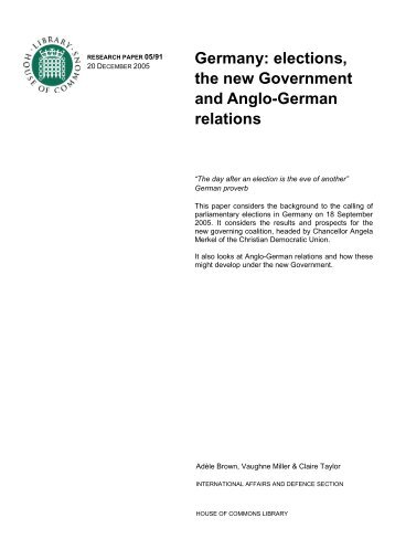 Germany: elections, the new Government and Anglo-German relations