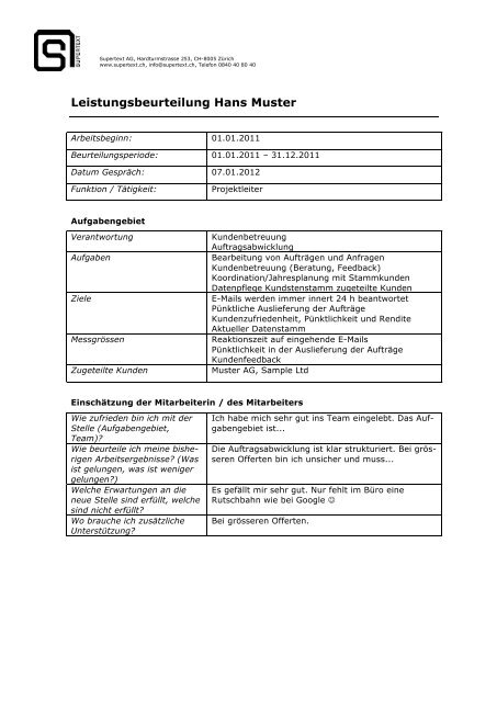 Leistungsbeurteilung Hans Muster Supertext Ag