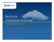 NetSuite Corporate Overview - NetSuite Australia