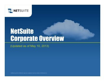 NetSuite Corporate Overview - NetSuite Australia