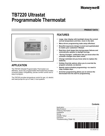 TB7220 Ultrastat Programmable Thermostat - The Energy Conscious