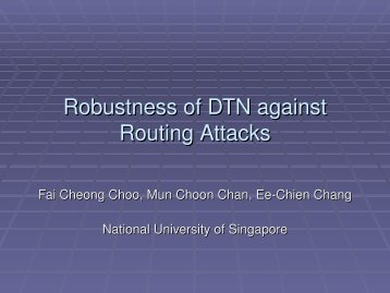 Robustness of DTN against Routing Attacks - CEDT