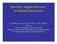 Recovery Support Services: A National Perspective - CT.gov