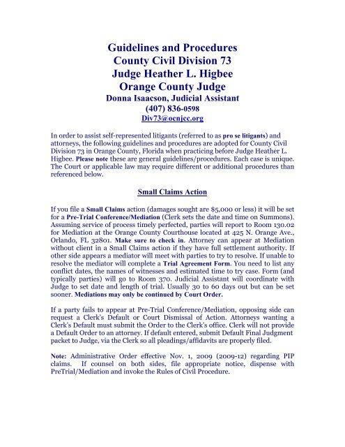 Guidelines And Procedures Ninth Judicial Circuit Court Of