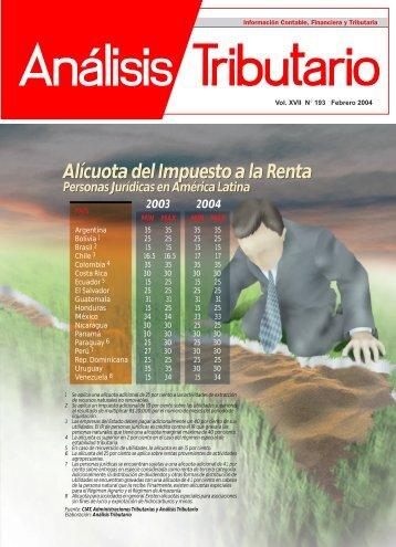 Alícuota del Impuesto a la Renta Alícuota del Impuesto a la ... - AELE