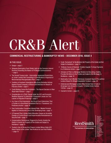 Commercial Restructuring & Bankruptcy Alert - Reed Smith