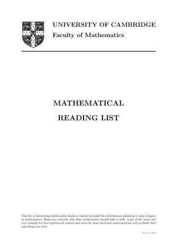 University of Cambridge's Mathematical Reading List