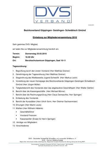 DVS-Einladung-Hauptversammlung 2010 - Tauchinsel Göppingen
