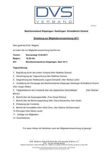 EInladung Hauptversammlung 2011.odt - Tauchinsel Göppingen