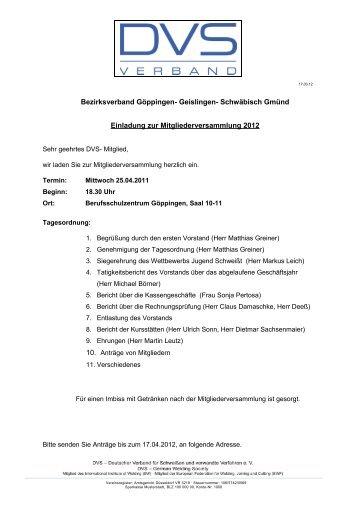 Schwäbisch Gmünd Einladung zur Mitgliederversammlung  2012