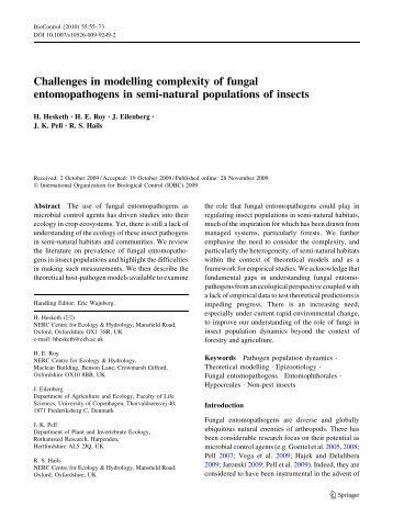 Challenges in modelling complexity of fungal entomopathogens in ...