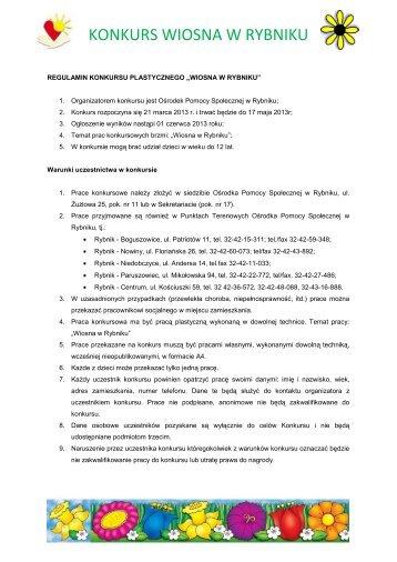 regulamin konkursu plastycznego - Ośrodek Pomocy Społecznej w ...