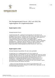 Om Partsgemensamt forum i Ungdomsstyrelsens regleringsbrev ...