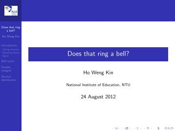 Does that ring a bell? - NIE Mathematics & Mathematics Education ...