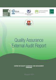 Quality Assurance External Audit Report - University of Namibia
