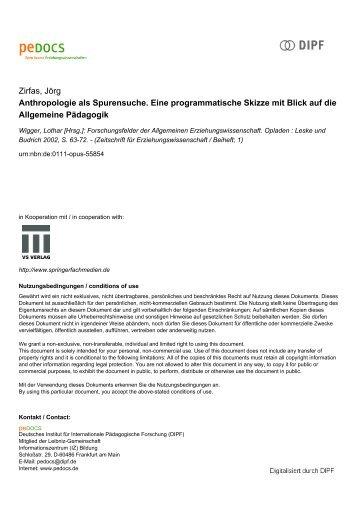 Anthropologie als Spurensuche. Eine programmatische Skizze mit ...