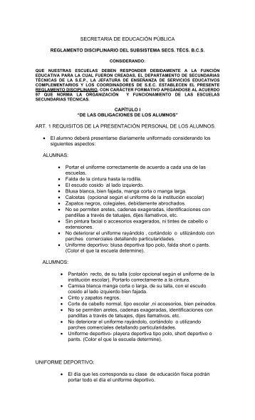 Nuevo Reglamento Disciplinario - Secretaria de Educación Pública ...
