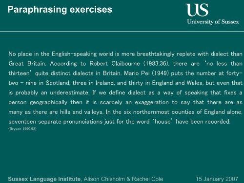 Paraphrasing exercises