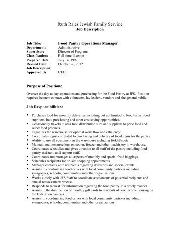Description Food Pantry Operations Manager