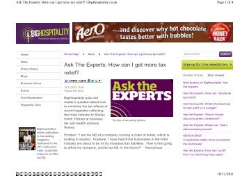 Ask The Experts: How can I get more tax relief? - Reeves
