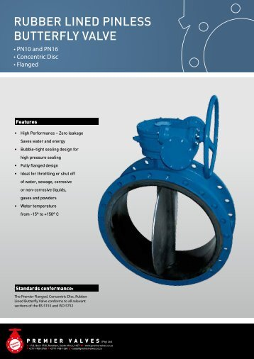 RubbeR Lined pinLess butteRfLy VaLVe - Premier Valves