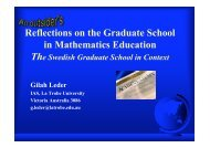 Reflections on the Graduate School in Mathematics Education