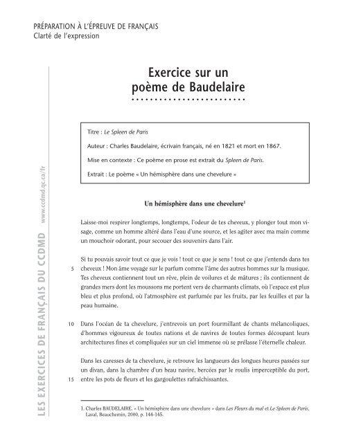 Exercice Sur Un Poãme De Baudelaire Ccdmd