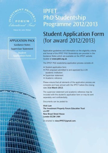 Student Application Form - Investment Property Forum