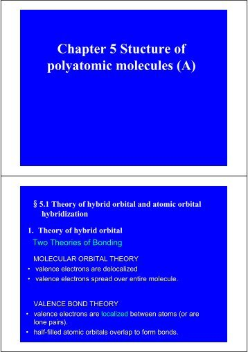 Chapter 5 The structure of polyatomic molecules