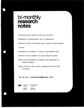 Bi-Monthly Research Notes: Vol 29, No 1-6 - NFIS