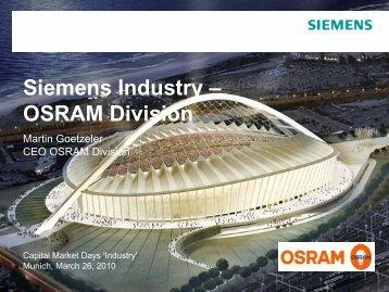 Siemens Industry – OSRAM Division