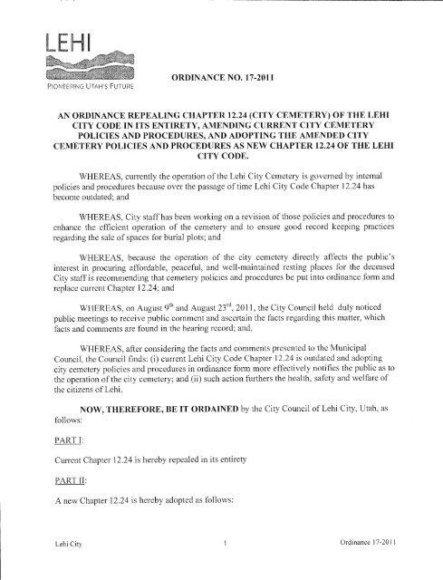 New Cemetery Ordinance - Lehi City