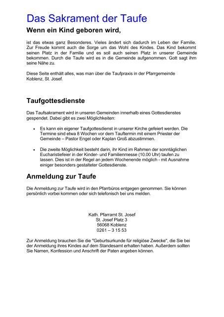 Grundsãtzliches Zur Taufe St Josef Koblenz