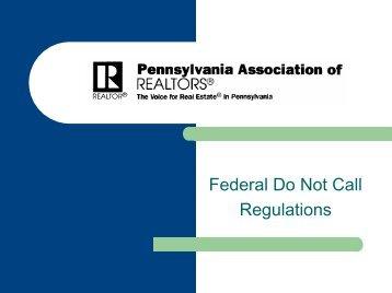Do-Not-Call Presentation - Pennsylvania Association of Realtors