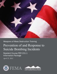 Prevention of and Response to Suicide Bombing Incidents