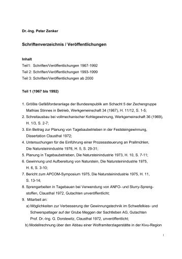 Schriftenverzeichnis / Veröffentlichungen - Dr. Peter Zenker