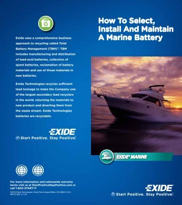 How To Select, Install And Maintain A Marine Battery - Exide ...