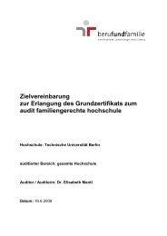 Zielvereinbarung audit familiengerechte hochschule