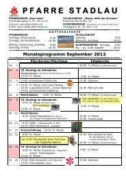 Monatsprogramm: September - 22., Pfarre Stadlau