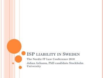 ISP LIABILITY IN SWEDEN