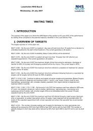 Waiting Times Report - July 2007 Board - NHS Lanarkshire