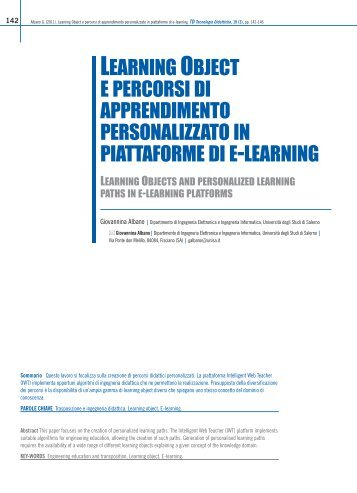 Learning Object e percorsi di apprendimento personalizzato in ...